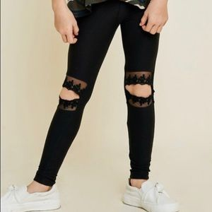 Girl's Lace Cut-out Leggings